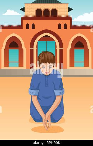 A vector illustration of Muslim Kid Praying in Mosque - Stock Image