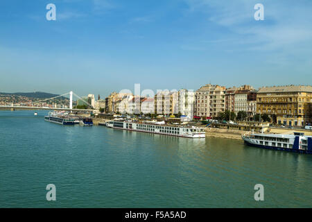 Facades in Budapest along the Danube river - Stock Image