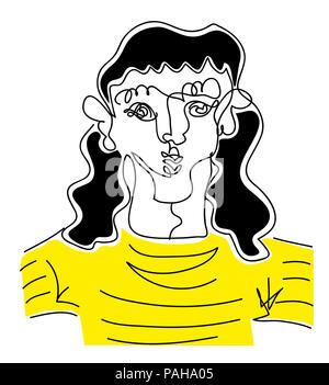 Long hair man.  illustration of long hair man in black and yellow stripped shirt.line drawing of long hair man. - Stock Image