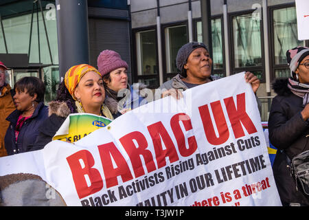 London, UK. 10th April 2019. Catering workers and campaigners at the government department for Business, Energy and Industrial Strategy (BEIS) protest at the end of their three day strike byy catering workers for a living wage and decent terms and conditions. They are on poverty pay, outsourced by BEIS to Ararmark who have responded to their claim with threats of redundancies. Credit: Peter Marshall/Alamy Live News - Stock Image