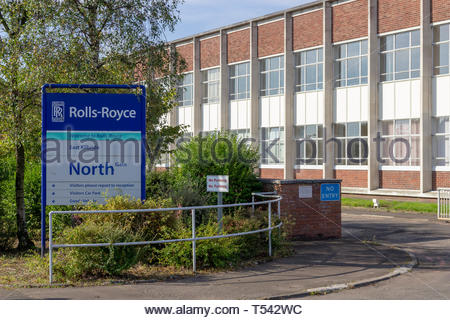 Sign at one of the Rolls-Royce aero-engine plant entrances in East Kilbride, Scotland, UK. - Stock Image