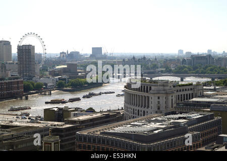 Aerial view of River Thames and South Bank London July 2014 - Stock Image