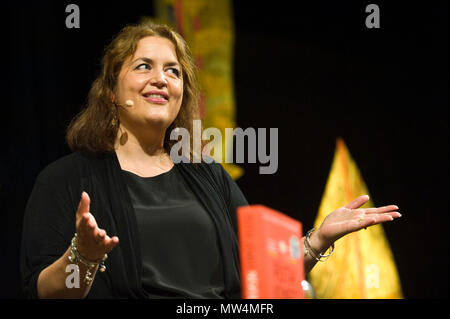 Ruth Jones actress scriptwriter producer speaking on stage in the Tata Tent at Hay Festival 2018 Hay-on-Wye Powys Wales UK - Stock Image