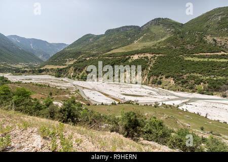 Views on way to Progonat village Albania - Stock Image