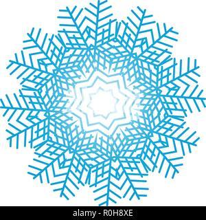 Snowflake ornate. Blue on white.  Vector illustration. - Stock Image
