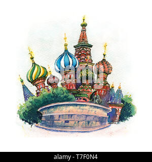 Watercolor sketch of The Cathedral of Vasily the Blessed or Saint Basil Cathedral in Moscow, Russia - Stock Image