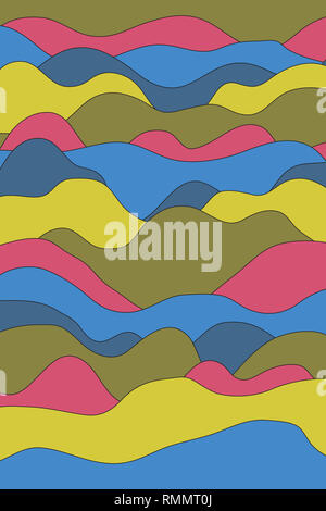 full frame image of abstract colorful wavy stripes background. for wallpaper and backdrop - Stock Image