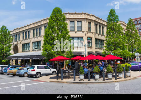 ASHEVILLE, NC, USA-10 JUNE 18:  The corner of the Grove Arcade at Page and Battery Park on an early summer Sunday. - Stock Image