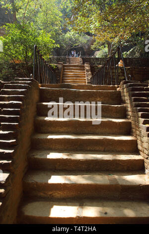 steps up sigiriya rock a unesco world heritage site in the cultural triangle of sri lanka - Stock Image