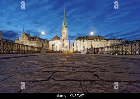 Munster Bridge, Fraumunster, Cobble Stone Pavement, Zurich, Switzerland - Stock Image