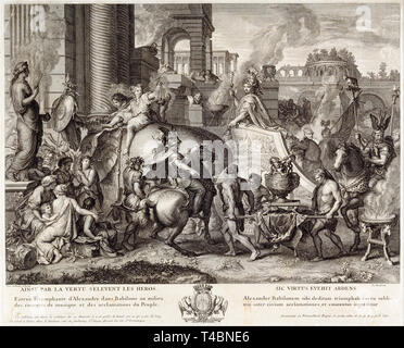 Jean Audran, Alexander the Great Enters Babylonia, engraving, c. 1703 - Stock Image