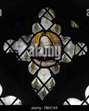 16th Century Stained Glass, depicting Jesus at the Last Supper, St Michael's Church, Irstead, Norfolk - Stock Image