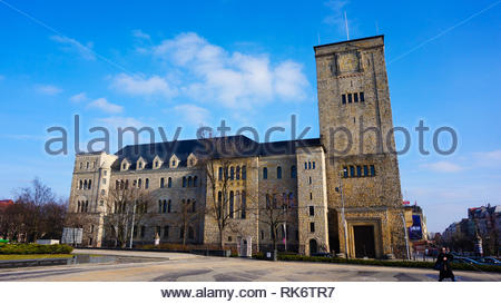 Poznan, Poland - February 6, 2019: Historical imperial castle with tower in the city center. - Stock Image