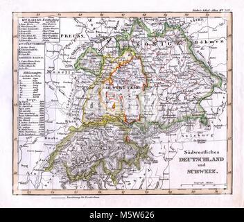 1844 Stieler Map - SW Germany Bavaria & Switzerland - Lucerne Zurich Geneva - Stock Image