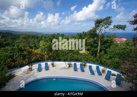 Jamaica Port Antonio Mockingbird Hill Hotel Pool - Stock Image