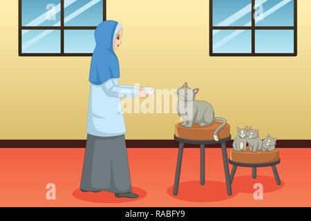 A vector illustration of Muslim Woman Feeding Cat and Kitten at Home - Stock Image