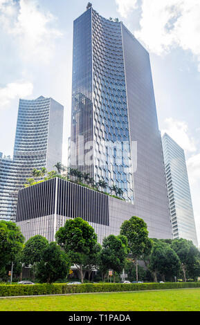 DUO office towers seen from Tan Quee Lan Field, Singapore. - Stock Image