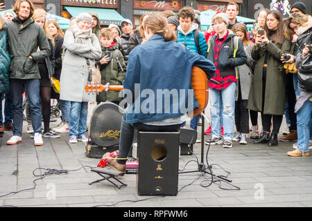 Street entertainers buskers preforming in central London England UK - Stock Image