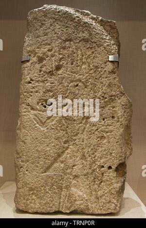 Stela with Hieroglyphic Inscription. Bronze Age. Byblos, Lebanon. Directorate General of Antiquities-Lebanon. - Stock Image