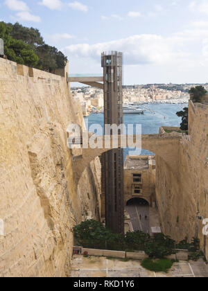 The Barakka Lift in Valetta Malta an easy way to get from the Grand harbour up to the old walled city centre - Stock Image