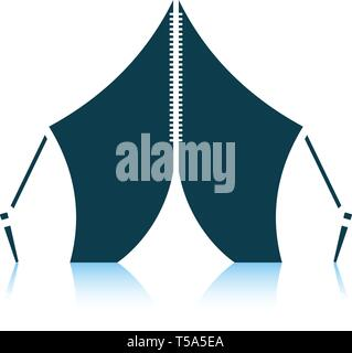 Touristic tent icon. Shadow reflection design. Vector illustration. - Stock Image