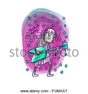 guitar playing rock star - Stock Image