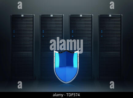 Concept of safety in a data center room with database server - Stock Image
