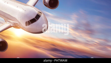 Close-up of commercial jetliner flying at high speed. Concept of modern and fastest way of transportation and danger of accident. - Stock Image