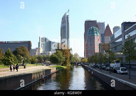 Skyline of The Hague with highrise buildings around the Central Station, including Hoftoren and Zurichtoren, Den - Stock Image