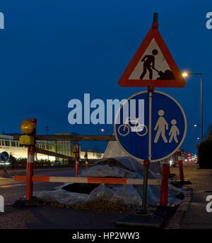 Road works in residental suburb to Copenhagen. - Stock Image