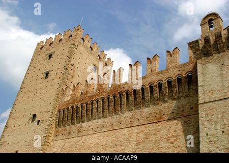 Four sided Castello della Rancia near Tolentino was built in1353 was originally a fortified farmhouse. - Stock Image