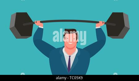 businessman raises heavy barbell up. business vector - Stock Image