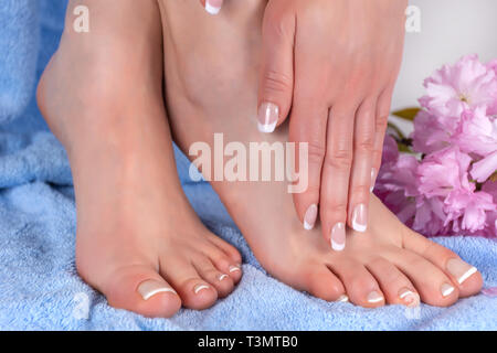 Girl bare feet and hands with french nails polish on blue towel with pink flower in studio. Woman manicure and pedicure concept. Close up - Stock Image