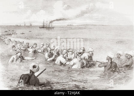 The Indo-European telegraph, landing the cable in the mud at Fao, Persian Gulf.  From The Illustrated London News, published 1865. - Stock Image