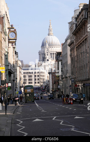 Fleet Street London towards St Pauls Cathedral - Stock Image