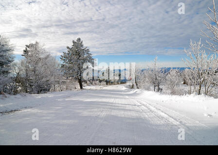 street with snow and ice in january - Stock Image