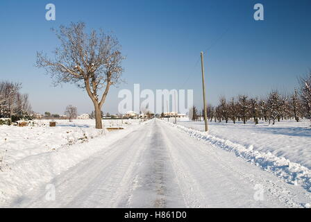 icy road in the countryside - Stock Image