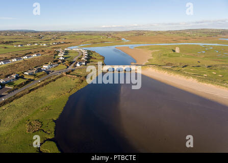 lahinch county clare ireland. scenic irish landscape with lahinch castle and golf course in the distance - Stock Image