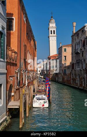 A canal in Castello quarter of the old Venice, Italy - Stock Image