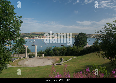 General view of Swanage Bay across park with amphitheater in foreground on a summers day - Stock Image