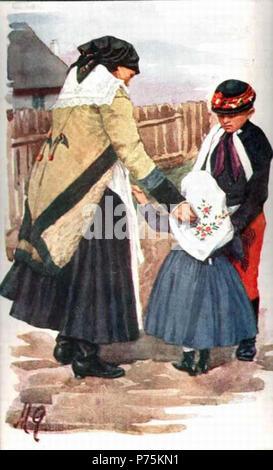 162 Marie Gardavská (1871-1937) - stařenka s vnoučaty - Stock Image
