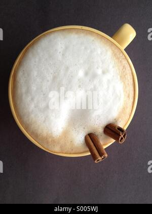Cappuccino with cinnamon - Stock Image