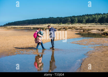 A family cross water pools left by the tide on sandy beach at Holkham bay, North Norfolk coast, East Anglia, England, UK. - Stock Image