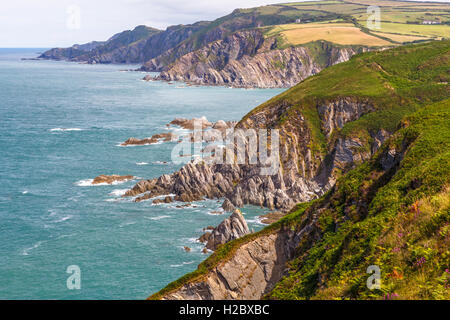 View from Bull Point, looking towards Lee bay. - Stock Image