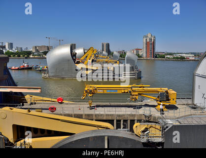 Close up of the Thames Barrier, Thames River, England 180627_68572 - Stock Image
