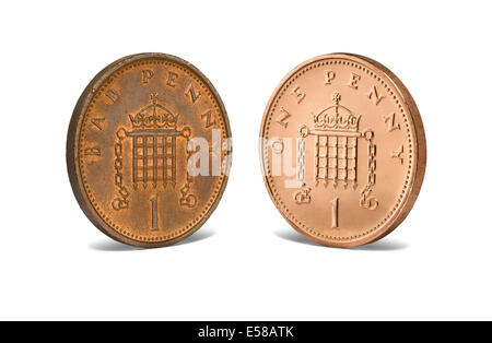 A bad penny facing a new penny - Stock Image