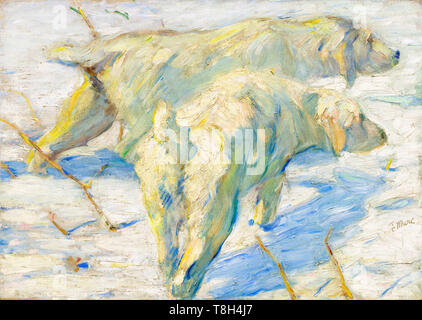 Franz Marc, Siberian Dogs in the Snow, painting, c. 1909 - Stock Image