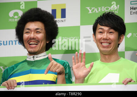 Tokyo, Japan. 14th May, 2019. Japanese comedy duo Total Ten Bosch members Kensuke Fujita (L) and Tomohiro Omura attend a promotional event of the Tour de Tohoku 2019 fun ride in Tokyo on Tuesday, May 14, 2019. Tour de Tohoku is is an annual cycling event to support Tohoku region, northern Japan as a massive earthquake and tsunami attacked the region in 2011. Credit: Yoshio Tsunoda/AFLO/Alamy Live News - Stock Image