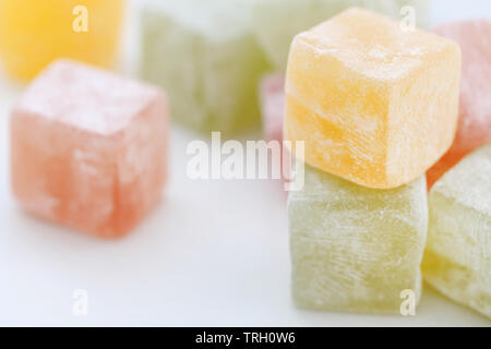 Popular Turkish delight in a plate - Stock Image