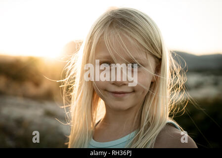 Girl at dusk - Stock Image